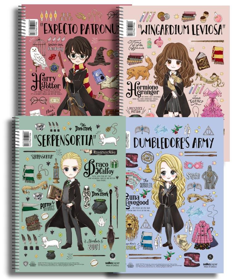Α4 Τετράδιο Σπιράλ Salko Paper Harry Potter MAGICAL 3 Θεμάτων Ριγέ 90φύλλων 21x29 7338