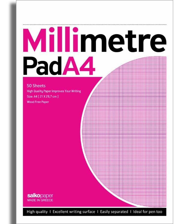 Μπλοκ Μιλιμετρέ Χιλιοστομετρικό χαρτί 50 φύλλων  Α4 21x29 5 Salko Paper 2132
