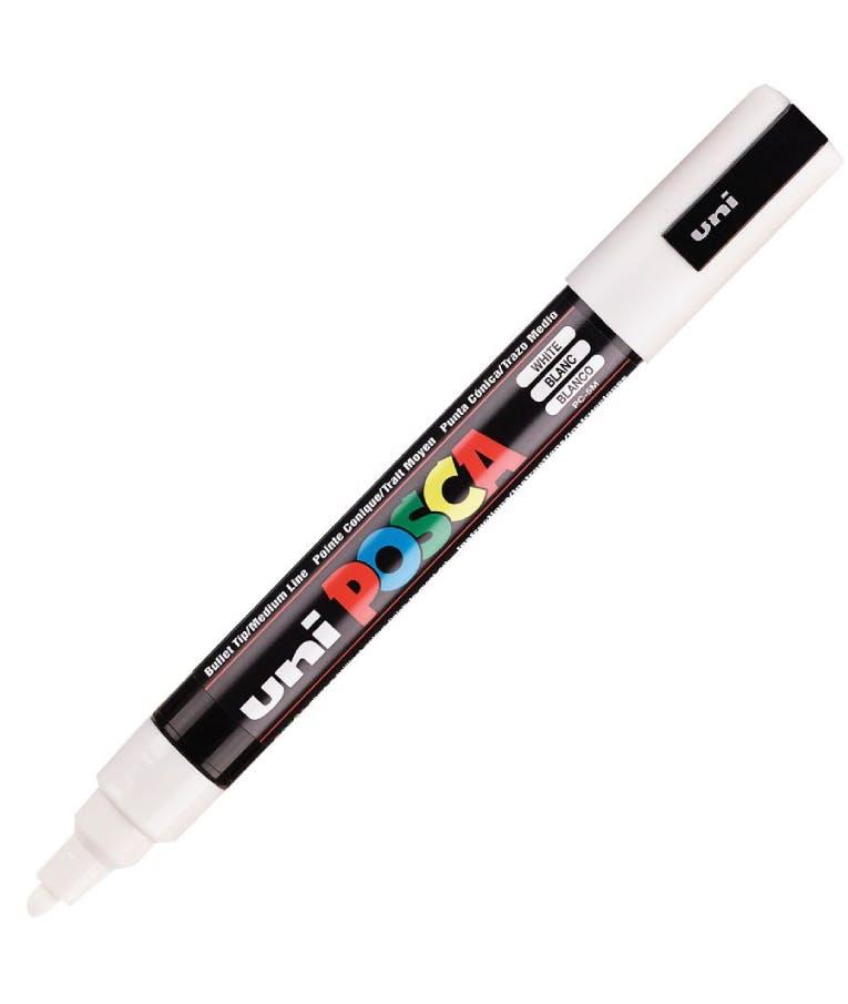 Μαρκαδόρος  Bullet Λευκό White 1 Uni-ball Posca 1.8-2.5 PC-5M Στρογγυλή Μύτη