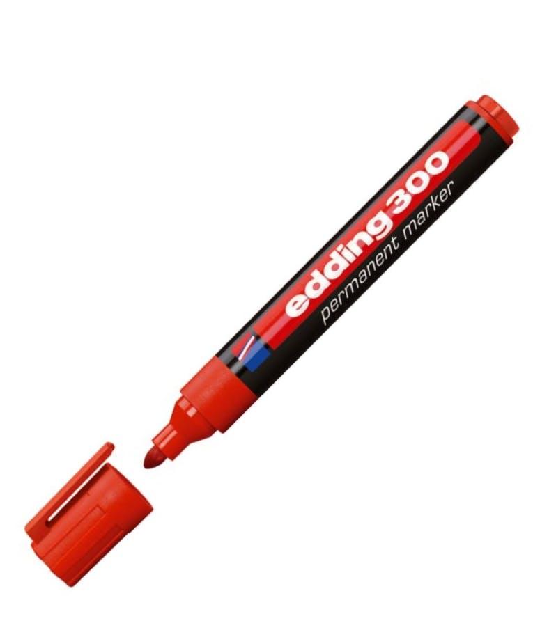 Μαρκαδόρος Permament Edding 300/002 permanent Κόκκινο Στρογγυλή Μύτη