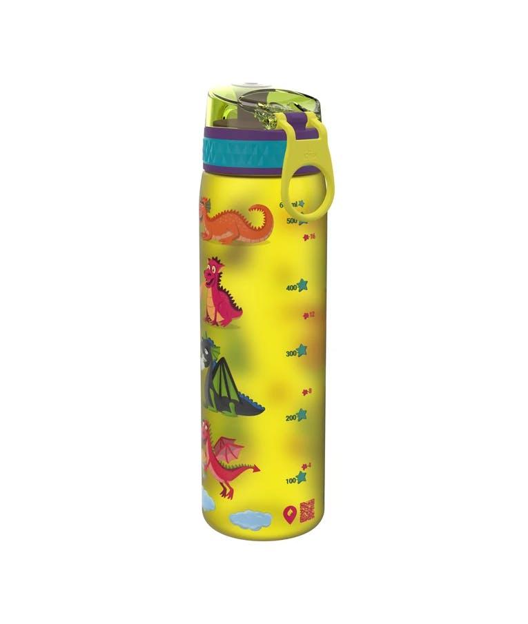 Ion 8 Leak Proof Sports Bottle Παγούρι Slim DRAGON Δράκοι Κίτρινο 600ml I8500FPYDRAG