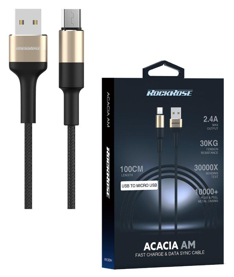 καλώδιο USB σε Micro USB Acacia AM, 2.4A 12W, 1m, χρυσό-μαύρο rrcs05m
