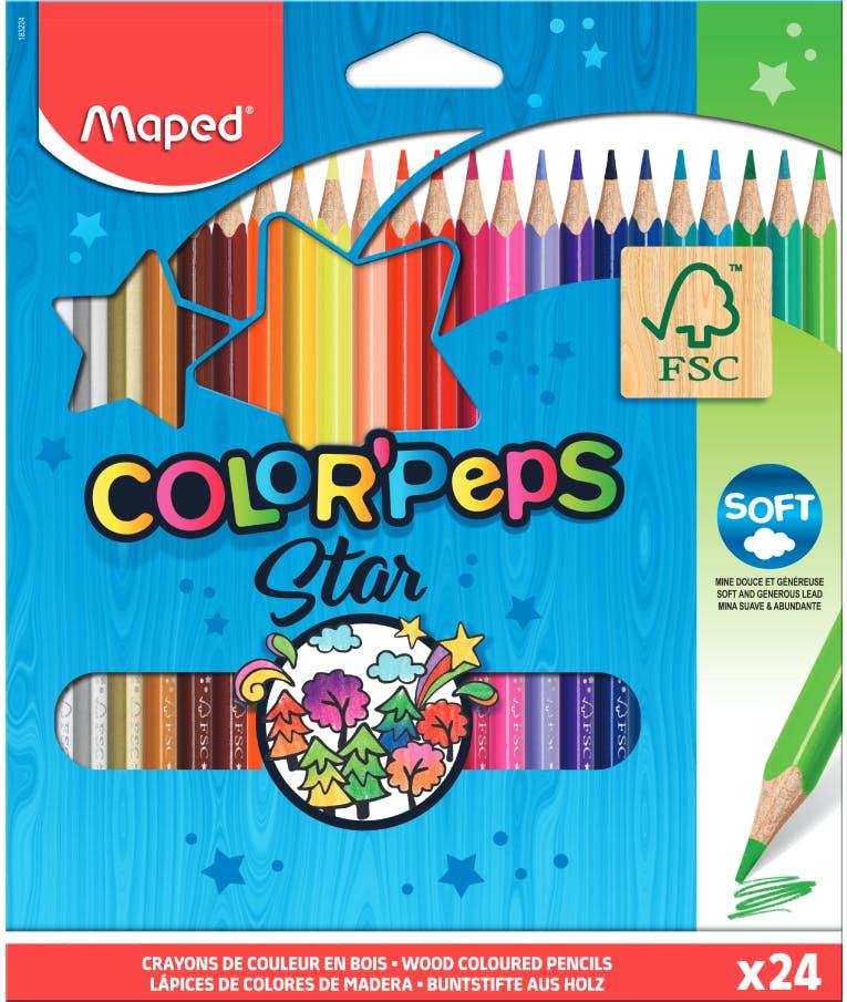 Maped Color Peps Star FC Soft Ξυλομπογιές Λεπτές 24 Χρώματα COLOR PEPS 183224