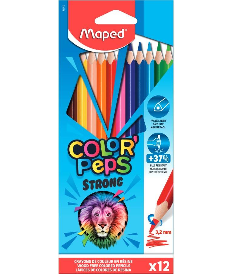 Maped Color'Peps Strong Σετ Ξυλομπογιές 12τμχ Strong Ανθεκτική Μύτη 3.2mm 862712