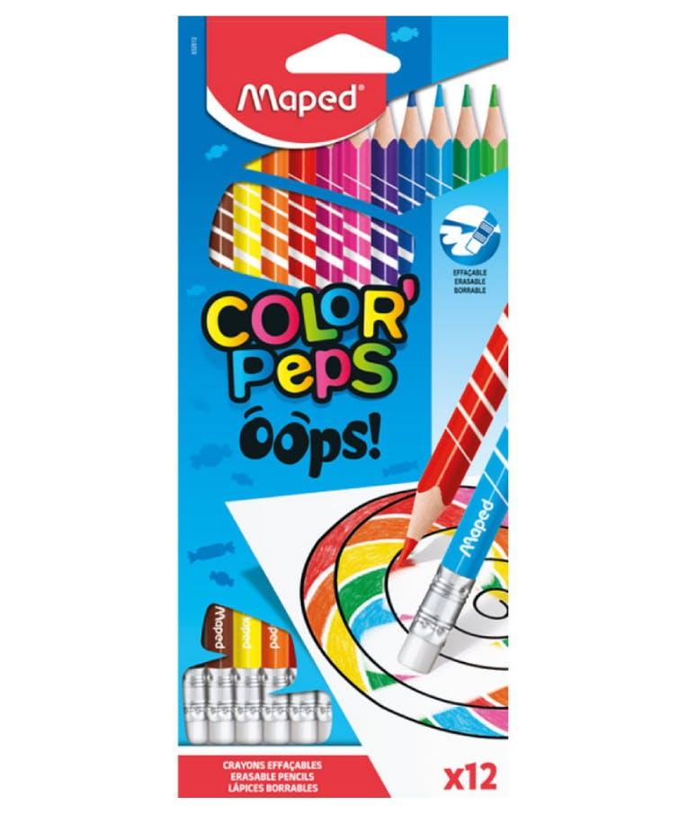 Color' Peps Oops Erasable Ξυλομπογιές με Γόμα (πακέτο των 12) 832812