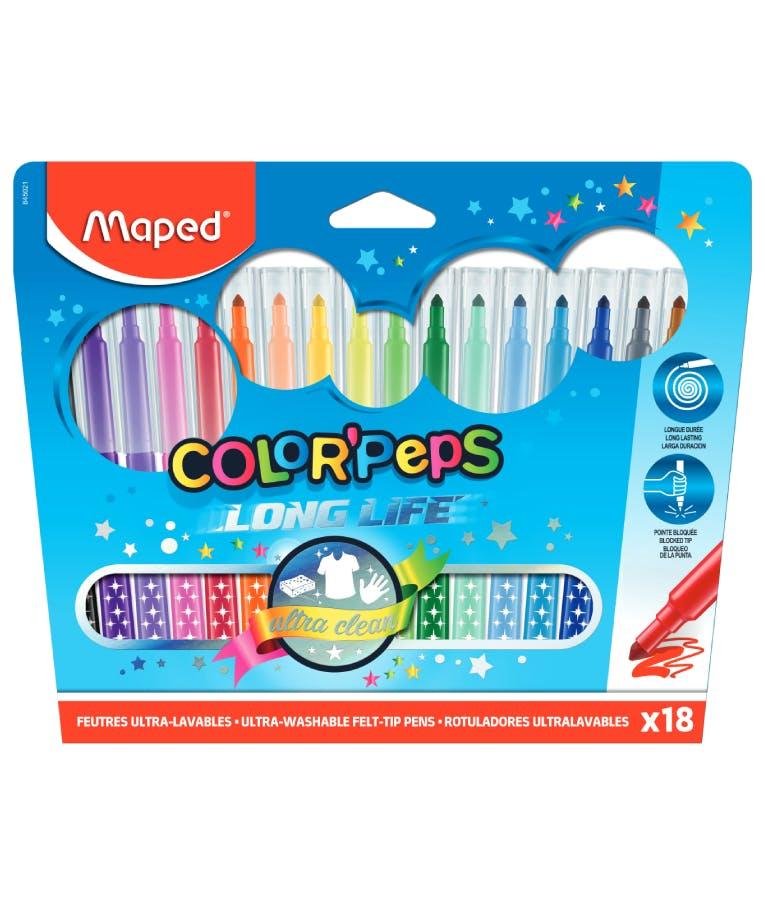 Maped Color Peps LONG LIFE Μαρκαδόροι Ζωγραφικής Πλενόμενοι 18 Χρώματα 845021