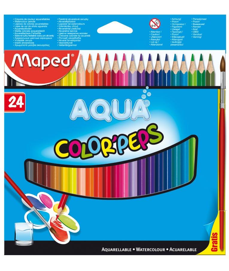 Ξυλομπογιές ακουαρέλας σετ 24 τμχ Maped Color'Peps Aqua (+ 1 πινέλο δώρο) 836013