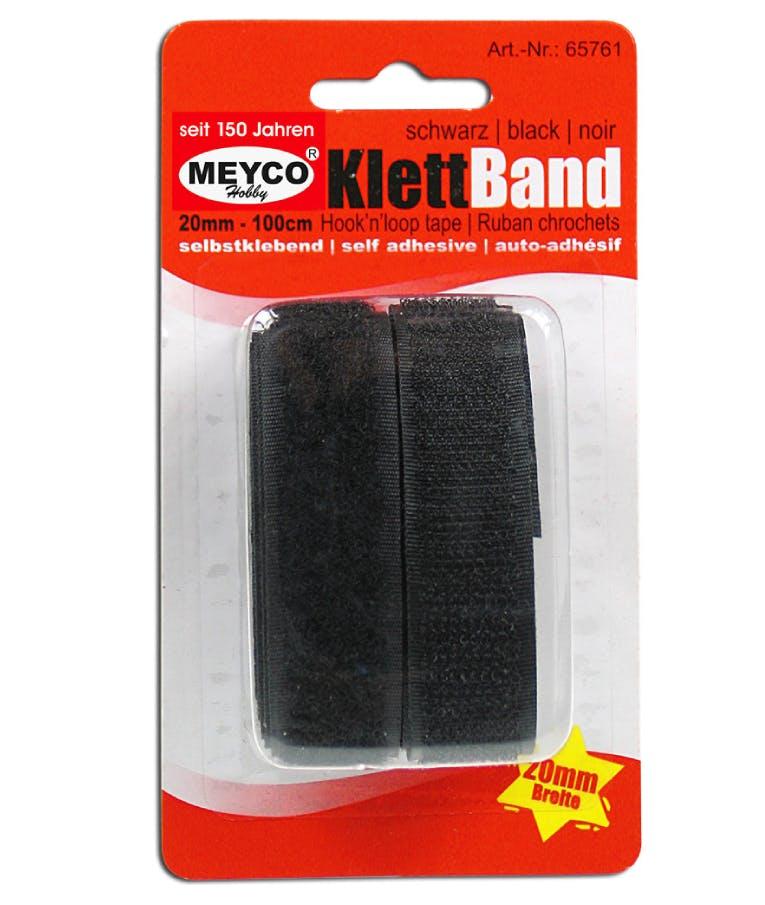 Ταινία velcro Meyco μαύρη 20mm x 1m. 65761 Αυτοκόλλητη 65761