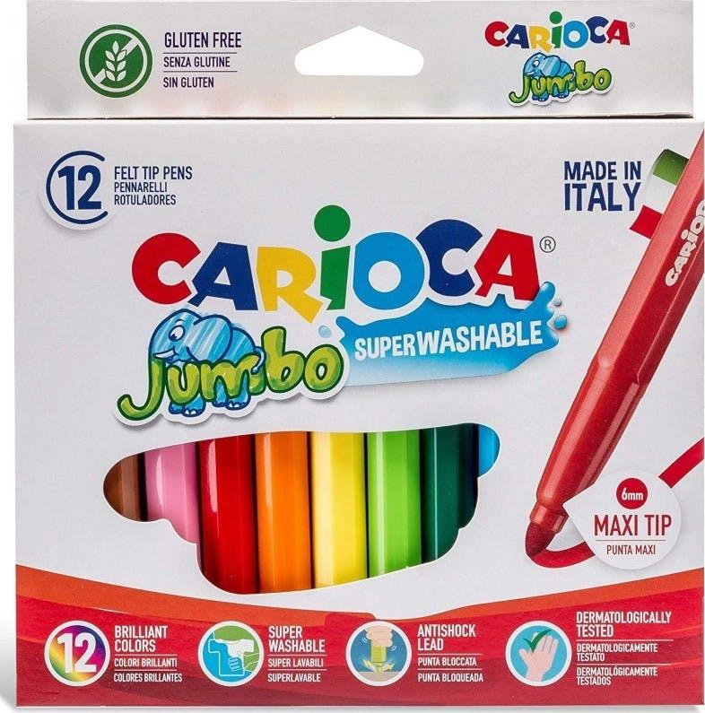 Carioca Jumbo Πλενόμενοι Μαρκαδόροι Ζωγραφικής Χονδροί σε 12 Χρώματα Superwashable 40569