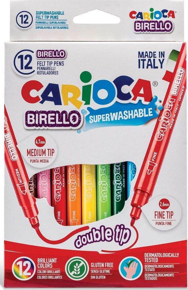 Carioca Birello Double Tip Πλενόμενοι Μαρκαδόροι Ζωγραφικής Λεπτοί με Διπλή Μύτη Superwashable σε 12 Χρώματα 41457