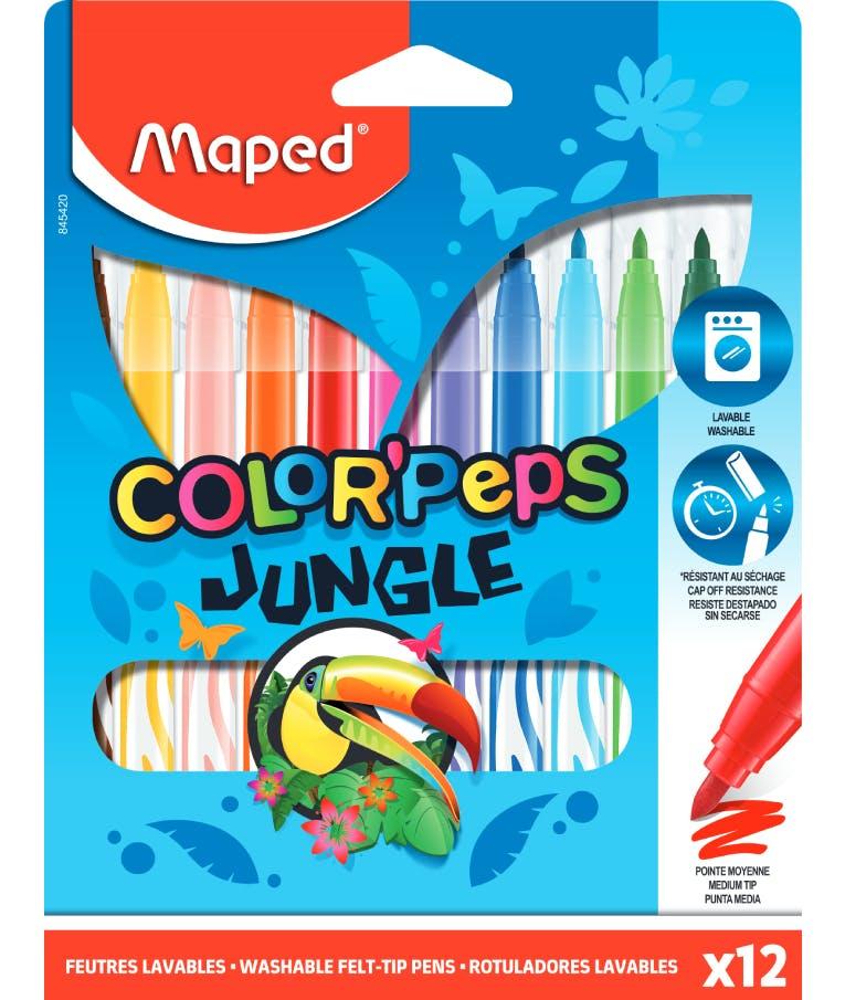 Maped Color'Peps Jungle Πλενόμενοι Μαρκαδόροι Ζωγραφικής σε 12 Χρώματα 845420