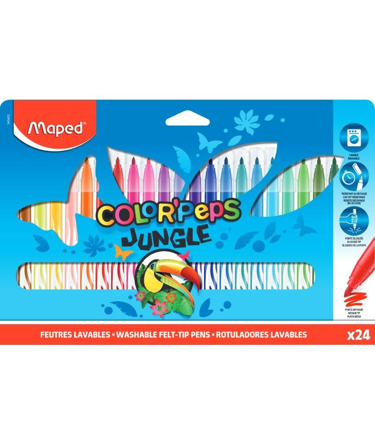 Maped Color Peps Jungle Μαρκαδόροι Ζωγραφικής Πλενόμενοι Λεπτές 24 Χρώματα 845422