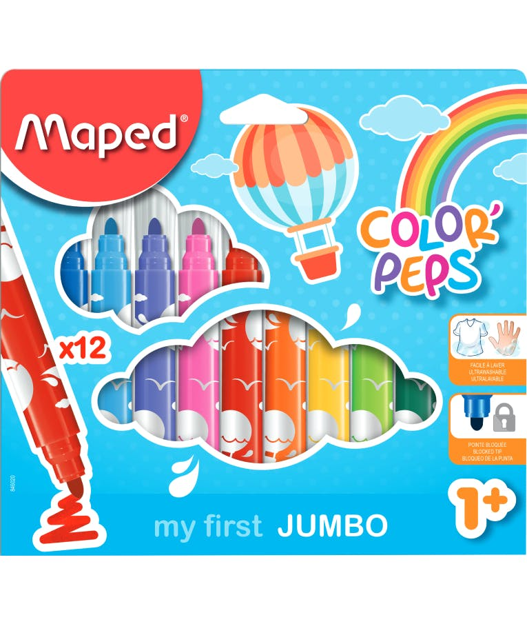 Maped Color Peps MAXI my first JUMBO Μαρκαδόροι Ζωγραφικής Χονδροί 12 Χρώματα 1+ 846020