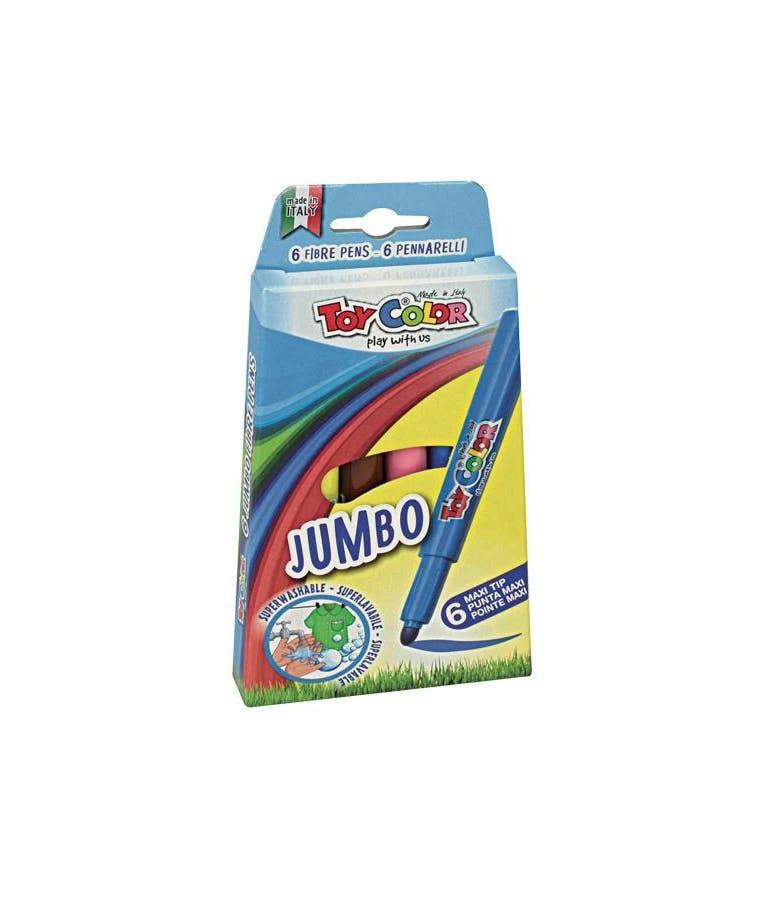 Toy Color Jumbo Πλενόμενοι Μαρκαδόροι Ζωγραφικής Χονδροί σε 6 Χρώματα 220.040N