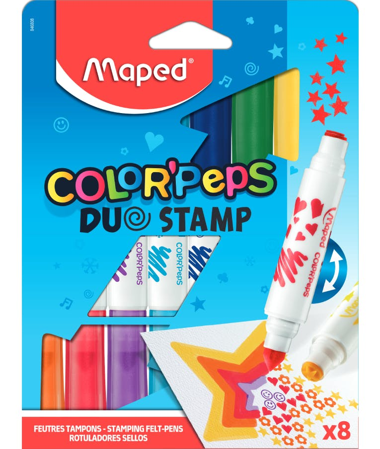 Μαρκαδόροι Χονδροί Ζωγραφικής Διπλοί Με Σφραγίδες 8τεμ Maped Color Peps Duo Stamp 846808