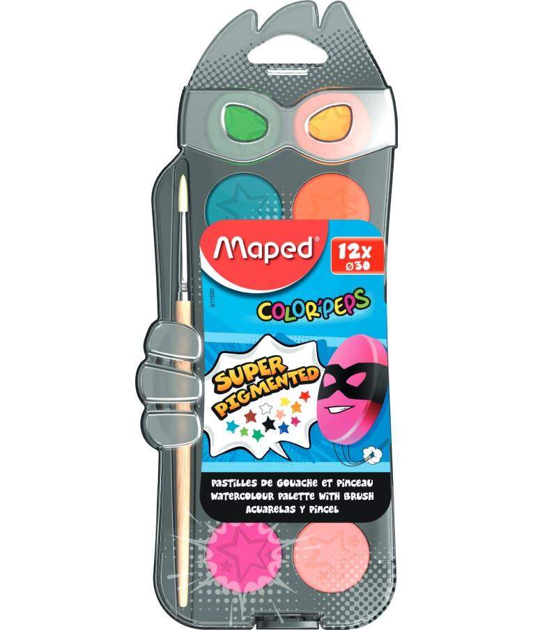 Maped Color'Peps Σετ Νερομπογιές με Πινέλο 12 χρωμάτων 30 mm 811520