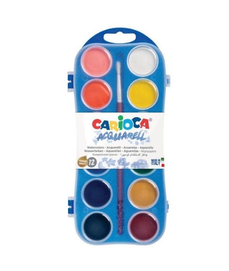 Carioca Acquarell Σετ Νερομπογιές με Πινέλο 12 Χρωμάτων στρογγυλά Υδροχρώματα 42400