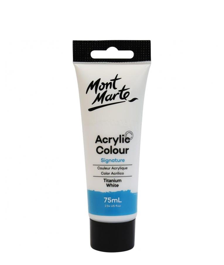 Signature Acrylic Colour Titanium White 75ml Tube - Mont Marte Ακρυλικό Χρώμα Λευκό 75ml Σωληνάριο MSCH7501_V06