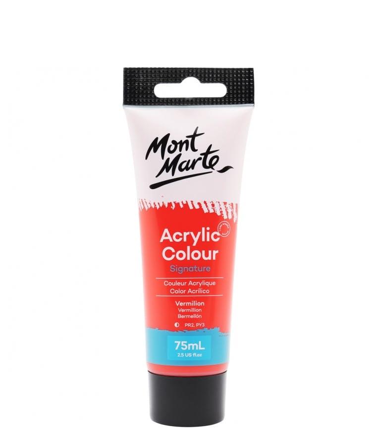 Signature Acrylic Colour Vermilion 75ml Tube - Mont Marte Ακρυλικό Χρώμα Κόκκινο 75ml Σωληνάριο MSCH7509_V06