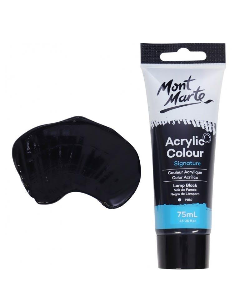 Signature Acrylic Colour Lamp Black 75ml Tube - Mont Marte Ακρυλικό Χρώμα Μαύρο 75ml Σωληνάριο MSCH7532_V06