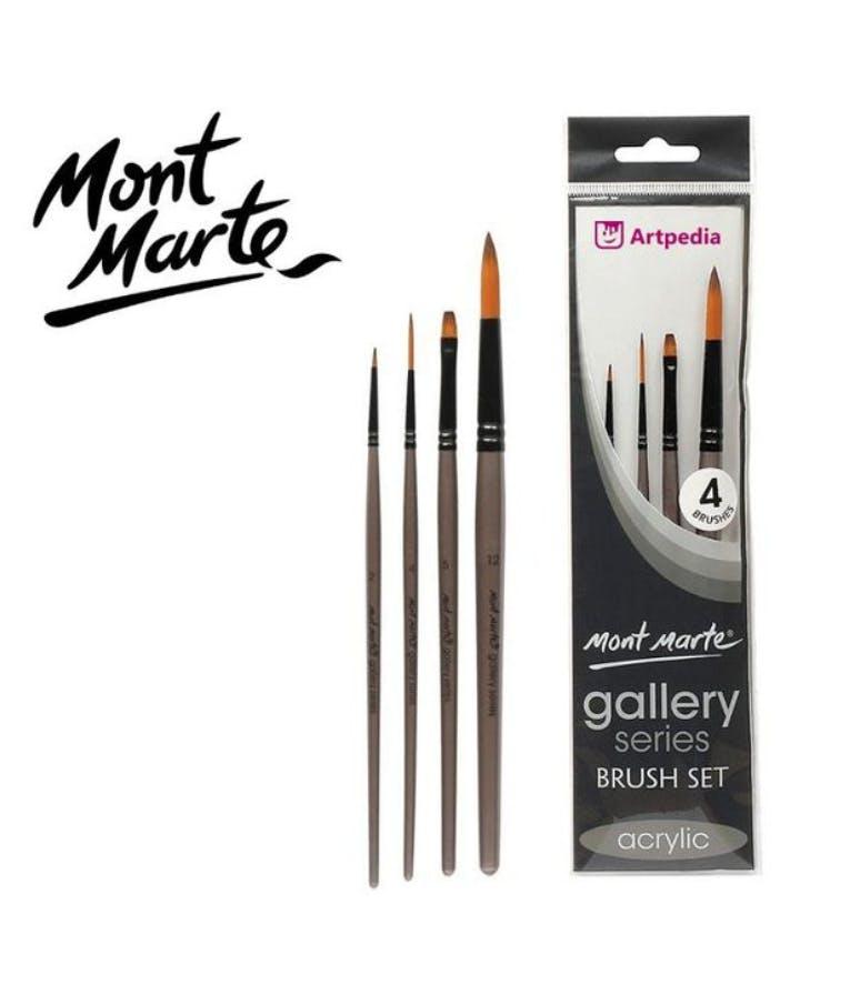 Mont Marte GALLERY 4 Πινέλα συνθετικά για Ακρυλικά χρώματα 4τεμ. No.2-4-5-12 BMHS0009
